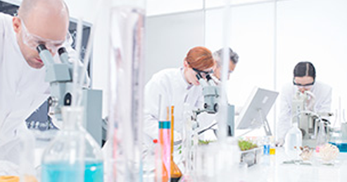 group of biotechnologists in a laboratory